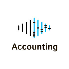Vector logo template for accounting company. Illustration of scores in blue and black colors. EPS10. Creative and simple logotype for business companies.