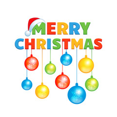 Cartoon inscription Happy Christmas with colorful balls