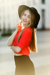 Photo of young girl in red jacket