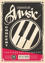 Classical music concert for piano and orchestra retro poster design layout