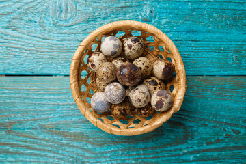 Photo of quail eggs in basket