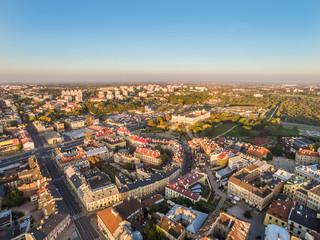 Lublin krajobraz z lotu ptaka z widocznym zamkiem, starym miastem oraz zabudowaniami Kalinowszczyzny.