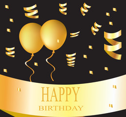 Happy birthday card with golden balloons on black background