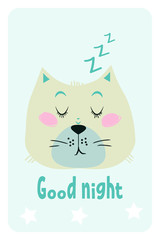 Good night card with a cute sleepy cat. Vector illustration.