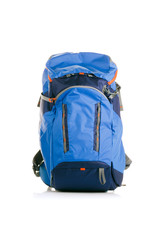 Photo of blue backpack on empty background