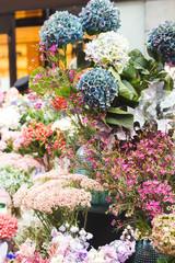 Autumn flowers. Autumn bouquets on a flower market.