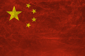 China flag with grunge texture background .