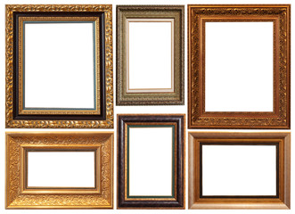 a picture gold frame on a white