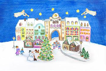 weihnachtliche Zeichnung - Weihnachtsmarkt mit fliegenden Engeln