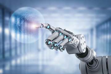 robot working with virtual display