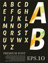 Polygonal alphabat font vector eps.10