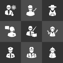 Set Of 9 Job Icons Set.Collection Of Artist, Officer, Fireman And Other Elements.