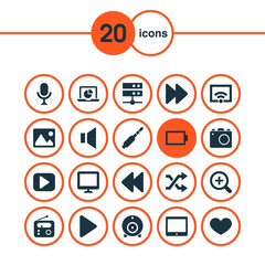 Music Icons Set. Collection Of Backward, Zoom In, Palmtop And Other Elements. Also Includes Symbols Such As Tuner, Microphone, Backward.