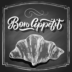 Hand drawn croissant, chalk draft sketch isolated on black chalkboard background. Vintage food vector illustration.