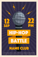 Hip hop poster with microphone. Cartoon vector illustration