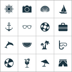 Summer Icons Set. Collection Of Trees, Smelting, Mammal And Other Elements. Also Includes Symbols Such As Anchor, Lifesaver, Palms.