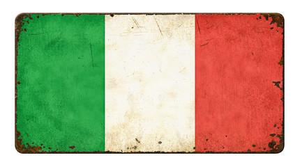 Altes verrostetes Blechschild - Flagge Italien