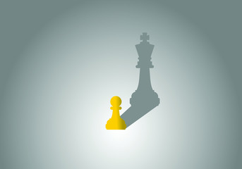 Chess pawn with king shadow. Successful and ambitious concept