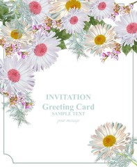 Greeting card with chamomile flowers bouquet Vector illustration