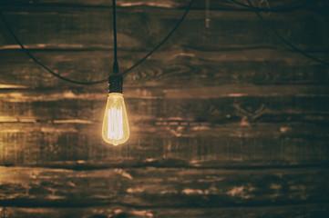 Light Edison bulb on dark wooden background