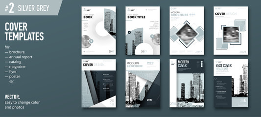Set of green Cover template for brochure, report, catalog, magazine, book, booklet. Creative vector concept