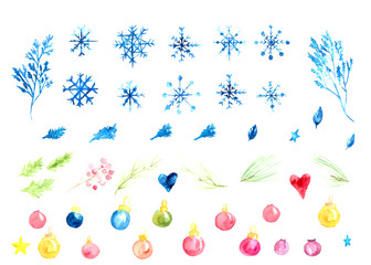 Watercolor vector set of christmas decoration with snowflakes. branches and balls