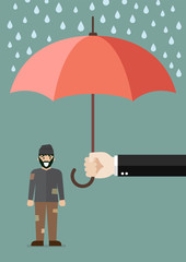 Hand holding an umbrella protecting poor man
