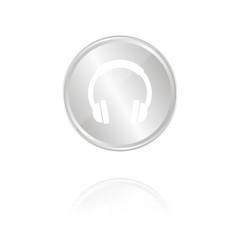Kopfhörer - Silber Münze mit Reflektion