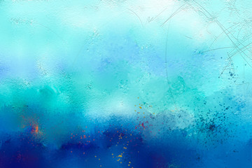 Abstract colorful oil painting on canvas texture. Hand drawn brush stroke, oil color paintings background. Modern art oil paintings with green and blue color. Abstract contemporary art for background