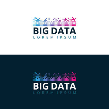Big Data mosaic logo design concept. Vector illustration