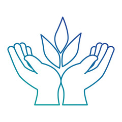 hands human protection with leafs