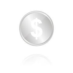 Dollarzeichen - Silber Münze mit Reflektion