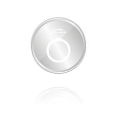 Diamantring - Silber Münze mit Reflektion