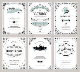 Set of 6 Halloween cards. Vector illustration.