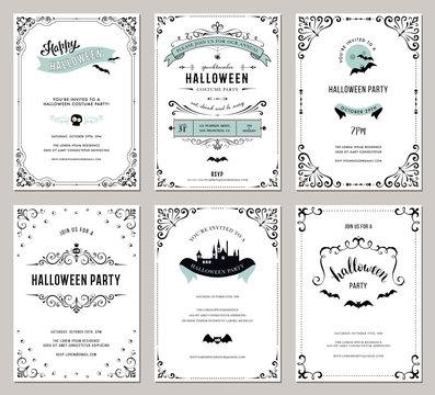 Set of 6 Halloween cards. Vector illustration.