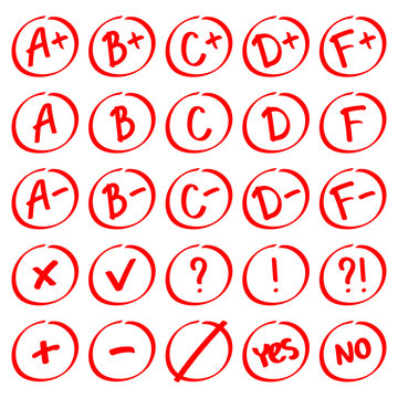 Grade results. Hand drawn vector set of grades with minuses and pluses. Red notes: plus, minus, tick, cross, yes, no, interrogative and exclamation mark.