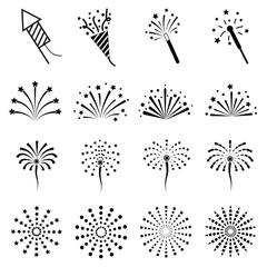 vector of firework icon set