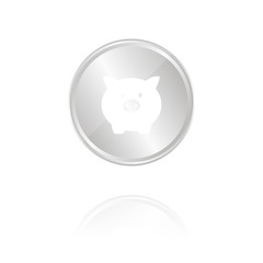 Sparschwein - Silber Münze mit Reflektion