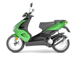 3d rendering of a black green scooter isolated on white background.