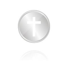 Traueranzeige - Silber Münze mit Reflektion