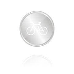 Fahrrad - Silber Münze mit Reflektion
