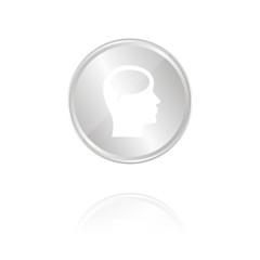 Sprechblase im Kopf - Silber Münze mit Reflektion