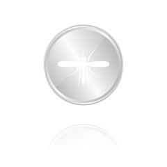 Stechmücke - Silber Münze mit Reflektion