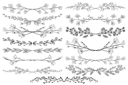 Vector Black Dividers with Branches, Plants and Flowers