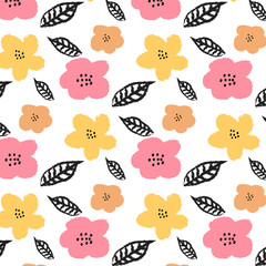 Pattern with flowers and leaves on white background. Hand drawn fabric, gift wrap, wall art design.
