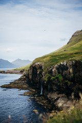 Mountains and waterfall in the Faroe Islands I