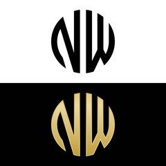 nw initial logo circle shape vector black and gold