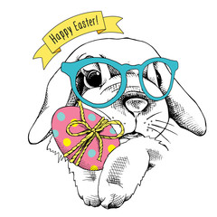 Easter poster with image of a bunny in glasses with egg. Vector illustration.