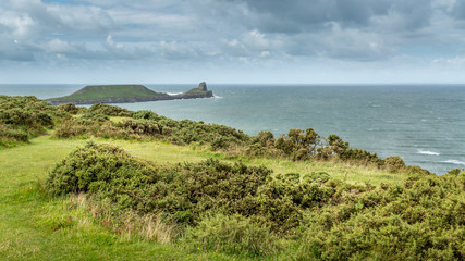 The Worms Head, Rhossili, South Wales, UK.