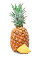 pineapple with a slice isolated on white